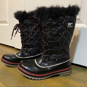 Sorel Tolfino Black Pink Fur Waterproof Boot 6